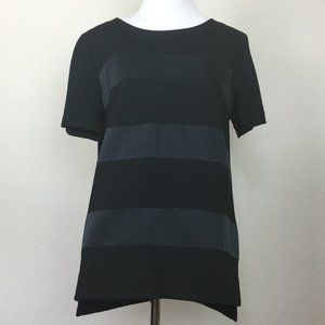 Madewell Black Faux Leather Stripe Top m